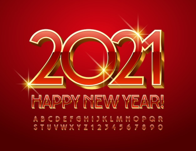 Vector premium greeting card happy new year 2021! red and gold elegant font. 3d luxury alphabet letters and numbers set