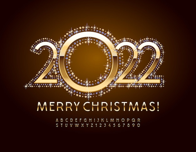 Vector premium greeting card merry christmas 2022 elegant golden alphabet letters and numbers