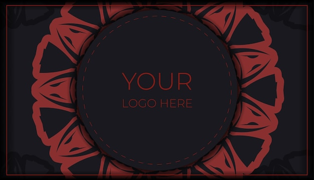 Vector preparation of invitation card with place for your text and ornament. vector ready to print postcard design black colors with greek patterns.