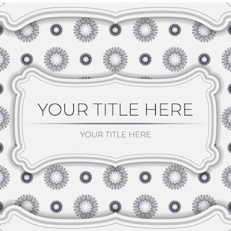 Vector preparation of invitation card with place for your text and vintage patterns. template for print design postcards in white color with greek patterns.