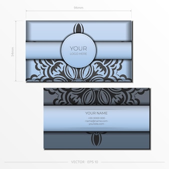 豪華な黒のパターンで青い色の名刺のベクトルの準備。ヴィンテージ飾り付きプリントデザイン名刺のテンプレート。