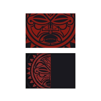 Vector prepare your invitation with a place for your text and a face in a polizenian style ornament. ready-to-print postcard design in black with the mask of the gods.