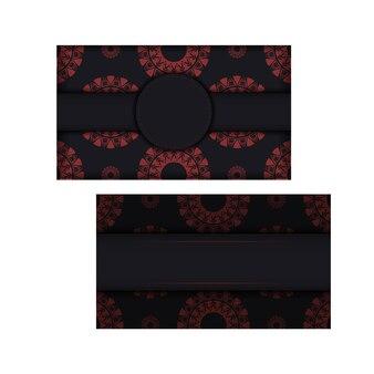 벡터 텍스트 및 추상 패턴에 대 한 장소를 가진 초대 카드를 준비 합니다. 빨간색 그리스 패턴이 있는 검은색 인쇄 디자인 엽서를 위한 고급스러운 템플릿입니다.