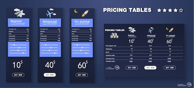 Vector pricing table template in modern line style.