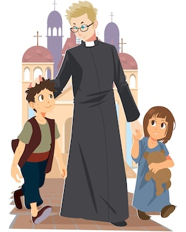 Vector of priest walking with children on floor outside church background.