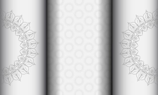 Векторный фон для печати готовый дизайн со старинным орнаментом. белый баннер шаблон с орнаментом мандалы для вашего логотипа.
