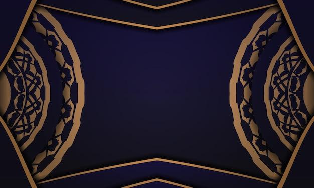 ヴィンテージの装飾が施されたベクタープリント対応のポストカードデザイン。あなたのロゴのための豪華な装飾が施された青いバナーテンプレート。