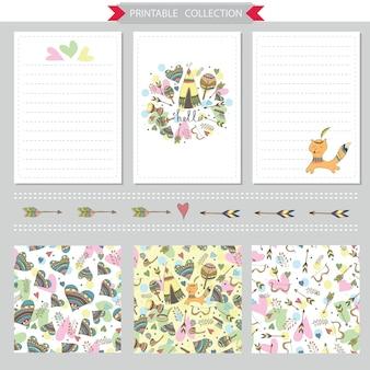 ネイティブアメリカンの面白いキツネとのベクトル印刷可能なメモ帳のデザインとシームレスなパターン
