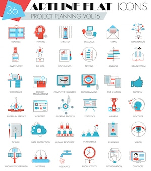 Vector project business planning ultra modern outline artline flat line icons for web and apps.