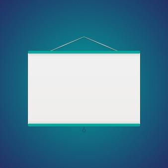 Vector projector screen over blue. vector illustration