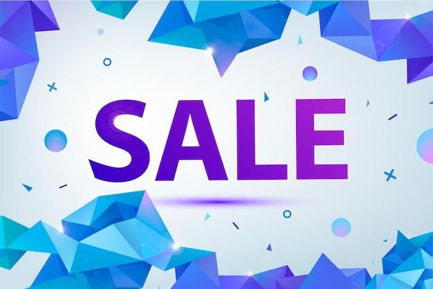 Vector promo, sale poster, banner. eometric facet 3d shapes, discount design for print or web, media, promotional material Premium Vector