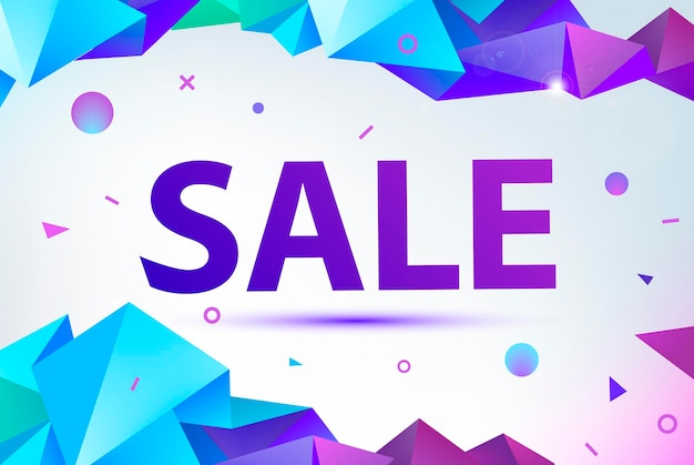 Vector promo, sale poster, banner. eometric facet 3d shapes, discount design for print or web, media, promotional material