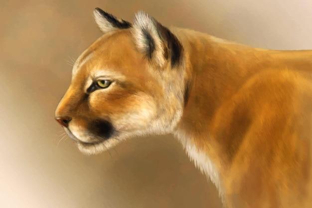 Vector puma realistic cougar head mountain lion in wild reserve wild cat portrait