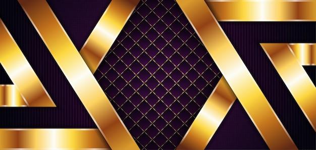 金の要素の装飾とベクトル紫の背景金の線と動的抽象的なグラデーション幾何学的な抽象的なモダンなデザイン正方形と垂直のストリップラインパターン