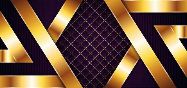 Vector purple background with gold element decoration dynamic abstract gradient with gold line geometric abstract modern design editable file with square and vertical stripped line pattern