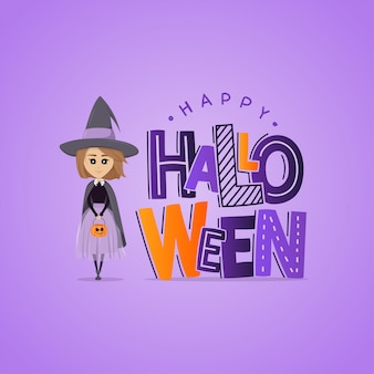 Vector purple greeting card for halloween. lettering and little witch with pumpkin