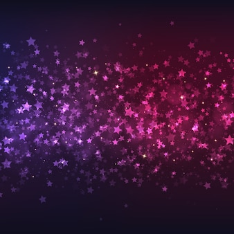Vector purple-pink background with colorful stars