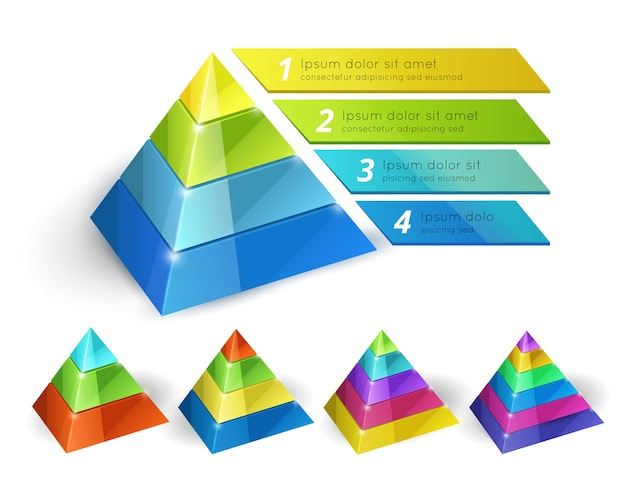 인포 그래픽 및 프리젠 테이션을위한 옵션이있는 벡터 피라미드 차트 아이소 메트릭 3d 템플릿