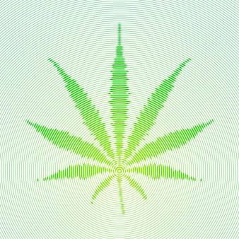 벡터 방사형 라인 하프톤 조각 스타일 하이포 파도 디자인 녹색 컬러 의료 마리화나 치료 잎 녹색 십자가 기호 그림 아이콘 흰색 배경에 고립