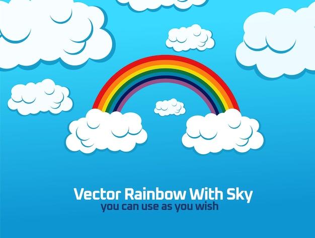 Векторная радуга с дизайном неба