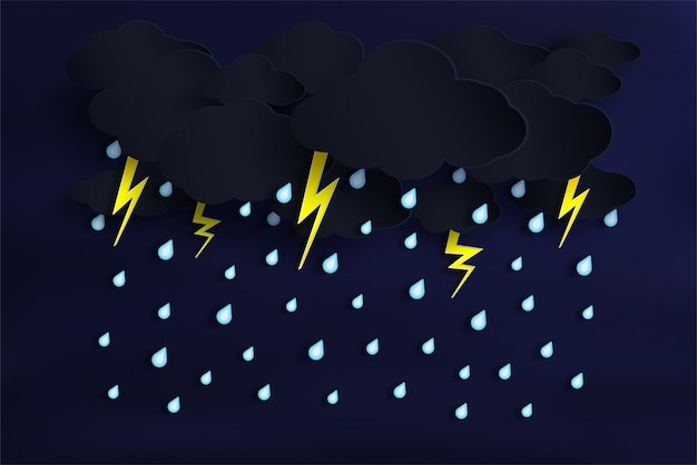 Vector of the rainy season and cloudy with rain is falling. and there's lightning