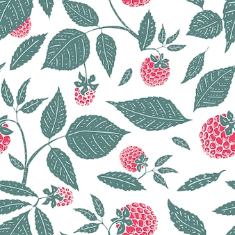 Vector raspberry seamless pattern. background, pattern, fabric design, wrapping paper, cover. retro hand drawn illustration