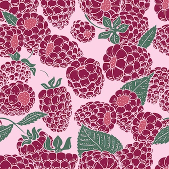 Vector raspberry seamless pattern. background, pattern, fabric design, wrapping paper