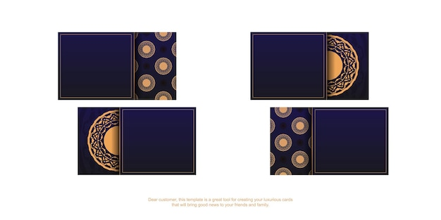 Vector ready-to-print blue color business card design with luxury patterns. business card template with place for your text and vintage ornaments.