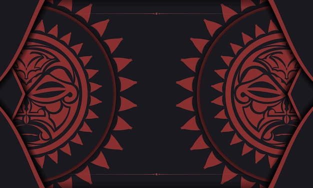 Vector ready to print postcard design in black color with mask of the gods. an invitation template with a place for your text and a face in a polizenian style.