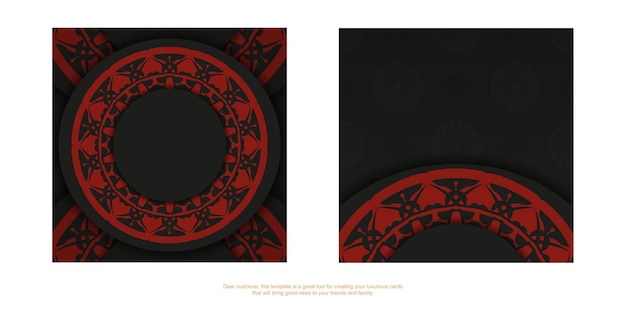 Vector ready to print postcard design black colors with greek patterns. vector template of invitation card with a place for your text and luxury ornaments.