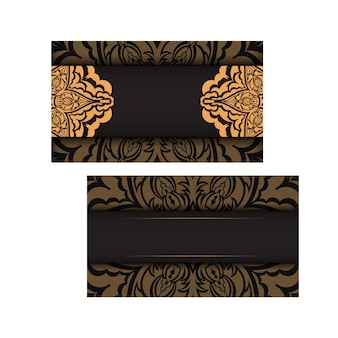 豪華なパターンでベクトルすぐに印刷できる黒の名刺デザイン。