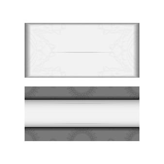 벡터 인사말 카드 인쇄 준비가 된 디자인 만다라와 흰색 색상입니다. 텍스트 및 빈티지 장식품을 위한 장소가 있는 초대 카드 템플릿.