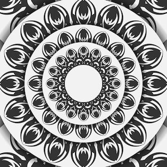 벡터 인사말 카드 인쇄 준비가 된 디자인 만다라와 흰색 색상입니다. 텍스트와 검은색 장식품을 위한 공간이 있는 초대 카드 템플릿입니다.