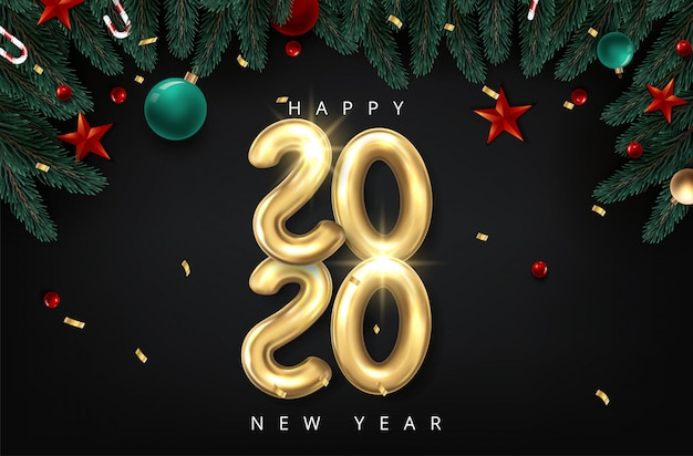Vector realistic 2020 balloons in 3d style in gold color. design of greeting card
