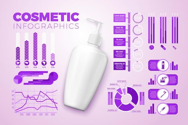 Вектор реалистичные 3d кремовая бутылка, с бизнес-инфографикой, значками и диаграммами, изолированными на ярком фоне.