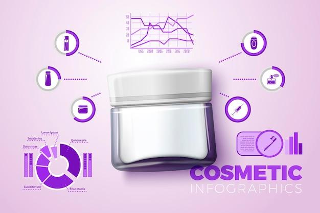 Вектор реалистичные 3d стеклянная бутылка крема, с бизнес-инфографикой, значками и диаграммами, изолированными на ярком фоне.