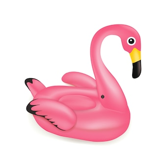 Vector realistic 3d pink cartoon flamingo