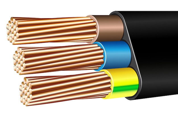 Vector realistic armored multicore electric cable wire