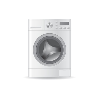Vector realistic automatic empty washing-machine with front-loading clothes