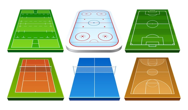 Vector realistic badminton ice hockey rugby soccer football and basket ball playground set