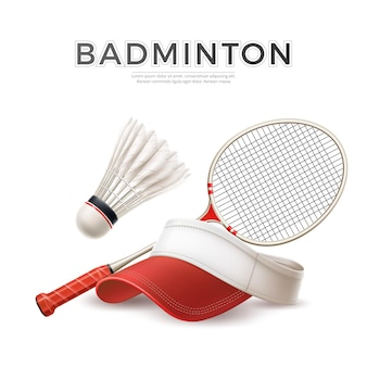 Vector realistic badminton racquet with shuttlecock and tennis cap