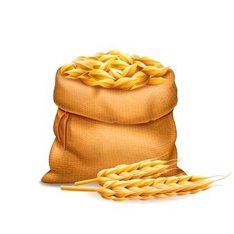 Вектор реалистичный мешок с неочищенными зернами пшеницы ячменя с колосьями пшеницы, изолированные на белом фоне