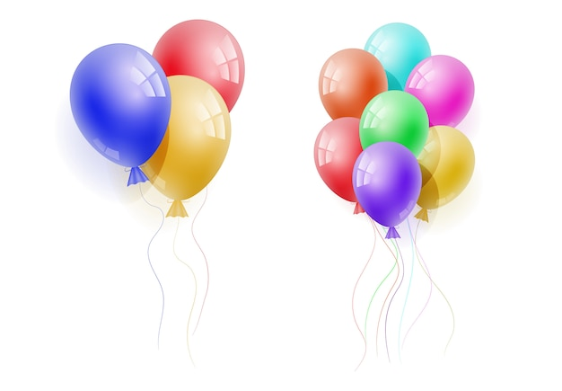 Vector realistic banch of colorful helium balloons