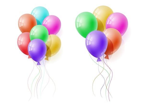 Vector realistic banch of colorful helium balloons.