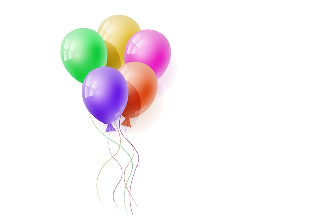 Vector realistic banch of helium balloons