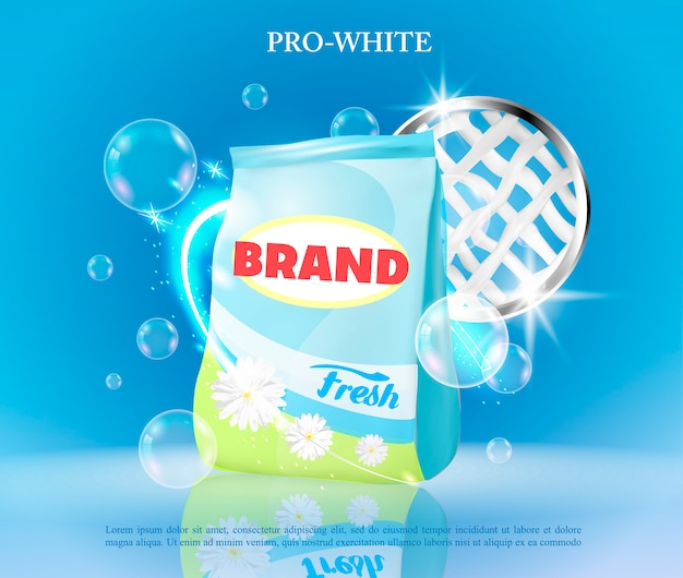 Vector realistic banner with laundry detergent.