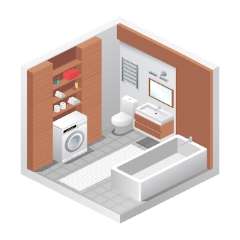 Vector realistic bathroom interior. isometric view of room, bathtub, toilet water closet, washing machine, sink, shelves with towels and home decor. modern furniture design, apartment or house concept