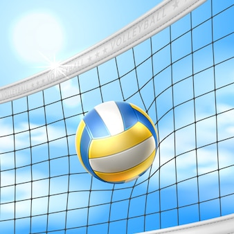 Vector realistic beach volley ball in net blue sky