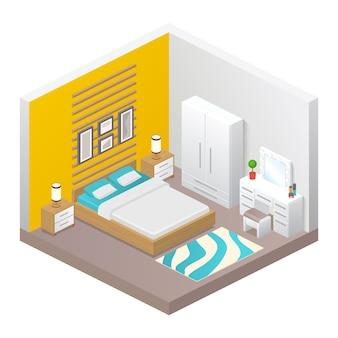 벡터 현실적인 침실 아늑한 인테리어. 방, 침대, 옷장, 침대 옆 탁자, 램프, 거울이있는 테이블, 오토만 및 가정 장식의 등각 투영 뷰. 현대 가구 디자인, 아파트 또는 집 개념