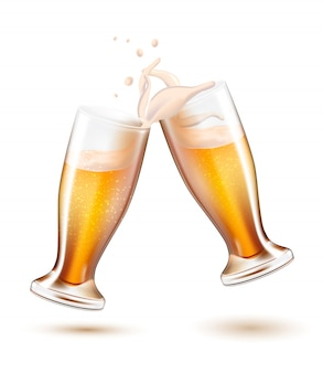 Vector realistic beer glasses toasting splashing